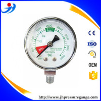 50mm air bourdon tube black case oxygen pressure gauge