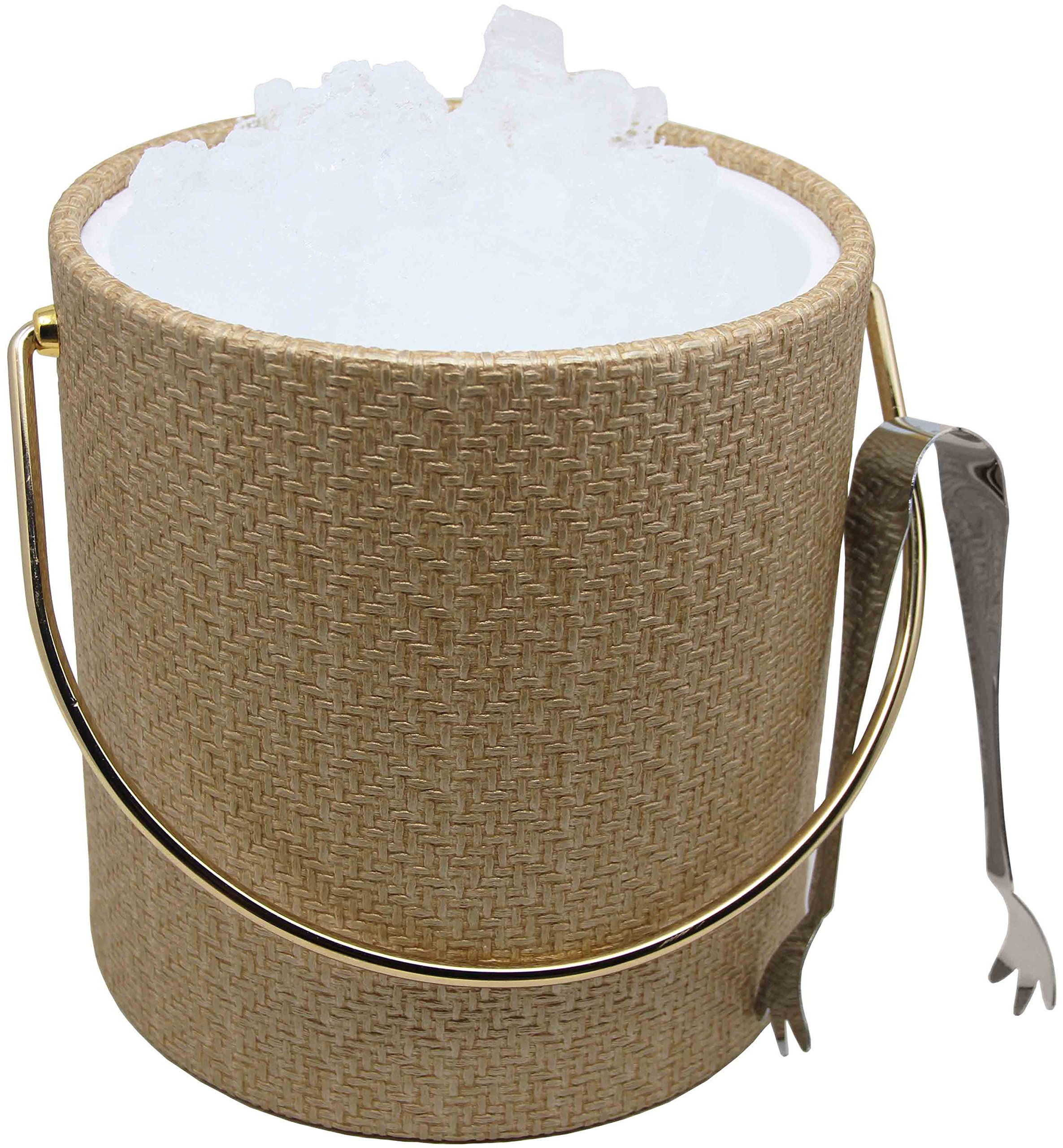 Hand Made In USA Double Walled 3-Quart Beige Metallic Wicker Insulated Ice Bucket With Bonus Ice Tongs