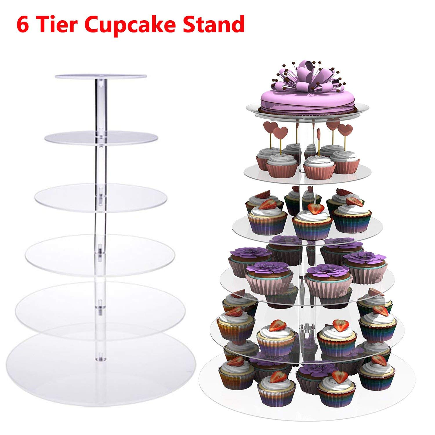 Benlet 5 Tier/6 Tier/7Tier Round Crystal Clear Acrylic Cupcake Stand Display Cake Tower for Wedding Birthday Party (6-Tier Stand)