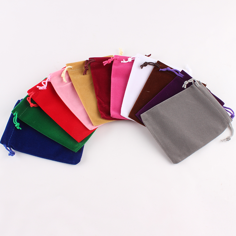 High Quality Black Mixed Colors Custom Drawstring Bag Single Side Packaging Bag Gift Velvet Jewelry Pouch Bag