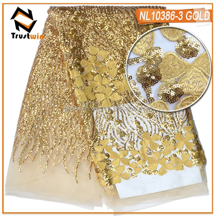 NL10386 wedding gold tulle lace sequins fabric