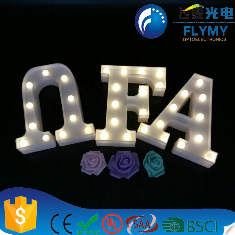 Decorative Alphabet Lights Plastic Light Up Decor Lamp for Wedding Party Bar Letter F