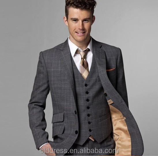 Light Grey Man Suit 3piece Set(jacket pant vest) - Buy Grey Suits ...