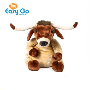 China Factory Wildlife Brown Sitting Yak Plush Toy