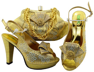 Latest Style African Shoes And Bag Set New Italian High Heels Shoes And Matching Bag Set For Party Dress