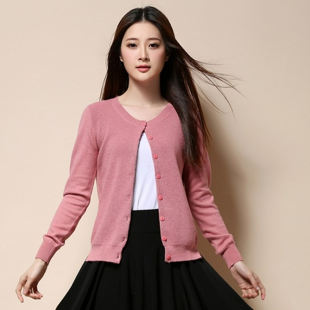 Pink crew-neck cashmere cardigan for girl fashion