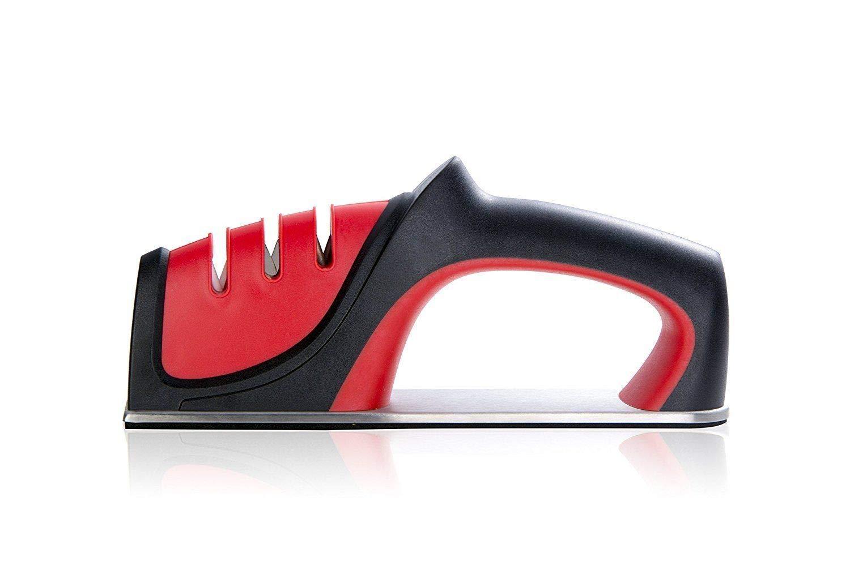 Knife Sharpener, QYUKUYU 3-in-1 Knife Sharpening System, Quickly Sharpen Dull Knife, Non-slip Base Kitchen Knife Sharpener, Safe & Durable