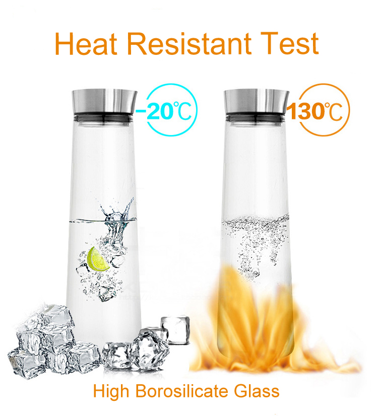 1000ml/1500ml Heat Resistant Borosilicate Glass Water Filter Pitcher with SS Lid
