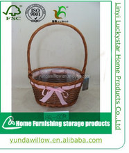 New high quality small beautiful round Wicker fruit flower basket handcraft