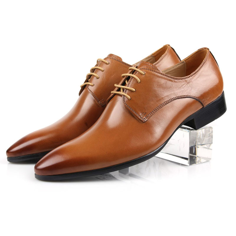 2015 Italian classic luxury brand designer genuine leather formal men dress shoes for wedding office basic flats size:6-10 ox27
