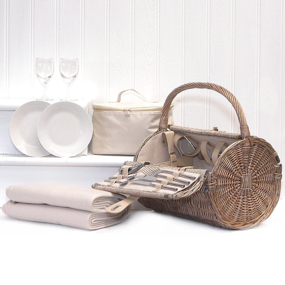 Harrington Barrel 2 Person Picnic Basket Hamper, Cream Fleece Picnic Blanket & Cream Chiller Bag
