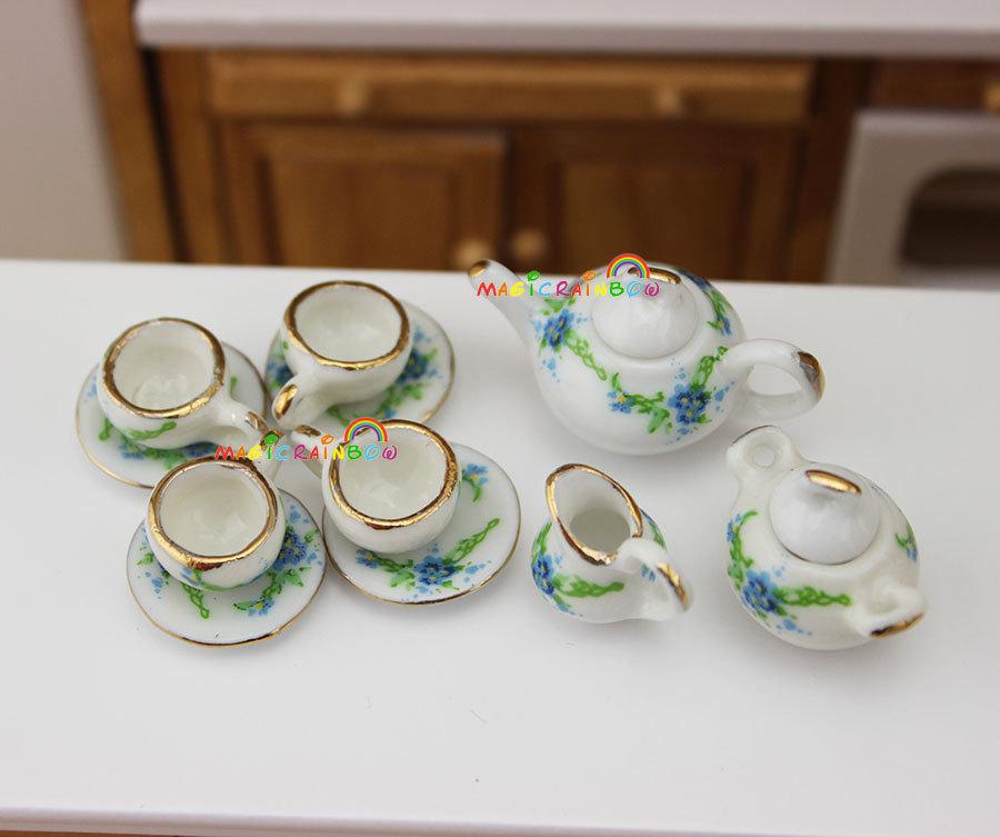 1:8 Dollhouse Miniature Porcelain Cup Pot Jar Coffee Tea