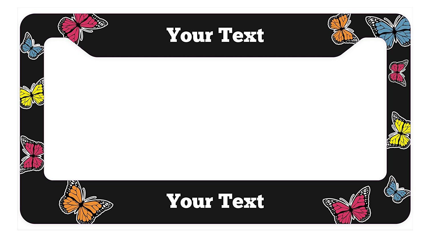 Butterfly Black Brushed Chrome Novelty Metal License Plate