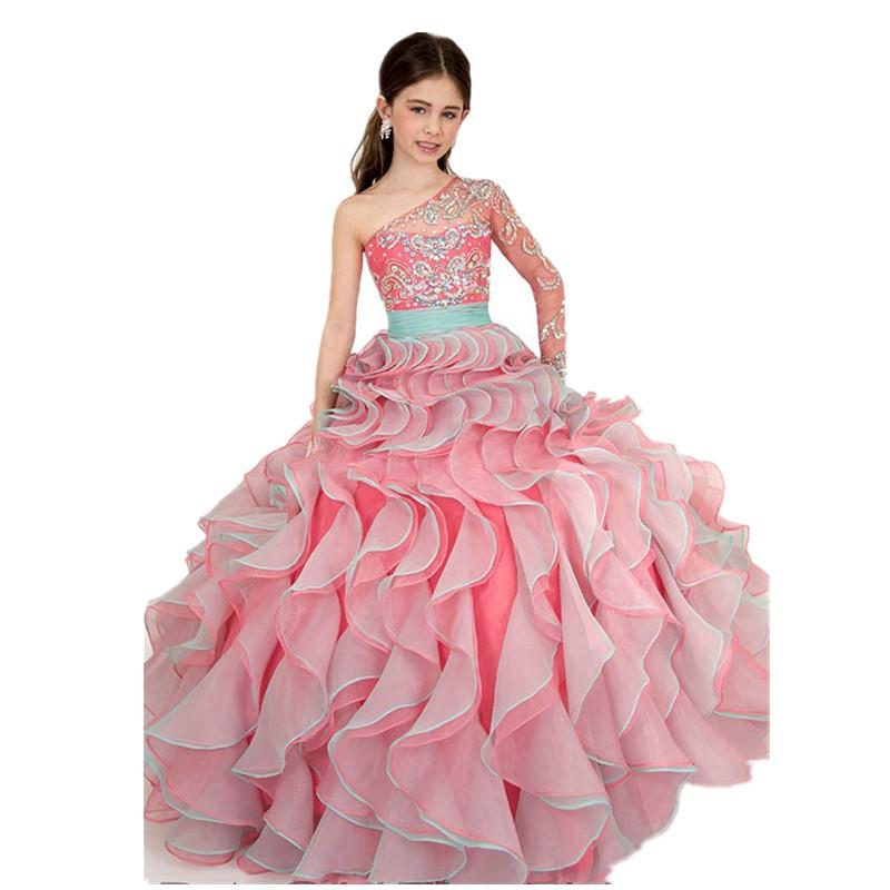 Buy Little Kids Beauty Royal Blue Cute Long Sleeve Ruffles Children ...
