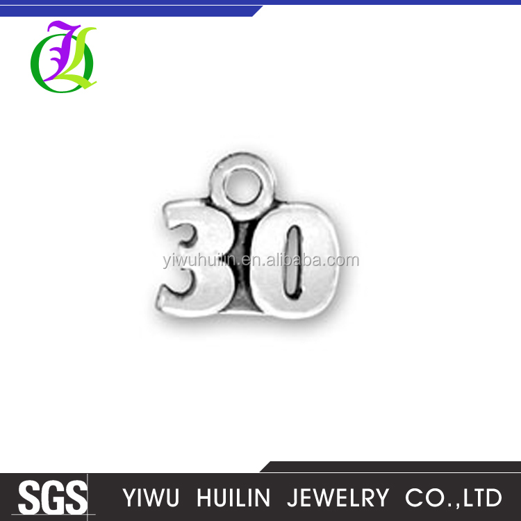 CN185331 Yiwu Huilin Jewelry Arabic numeral pendant custom 30 state charms