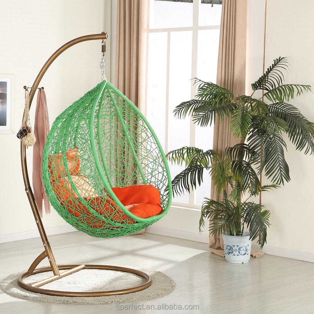 Indoor ei vormige volwassen helicopter swing stoel met stand slaapkamer teardrop rotan rieten