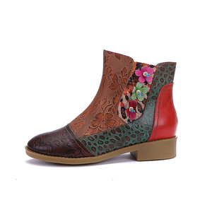 Warm 2019 Cowhide Embossed 3D Flower Hand-made National Anti-skid Women's Boots