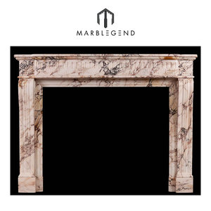 French Louis XVI style antique mantel in pink breccia marble fireplace