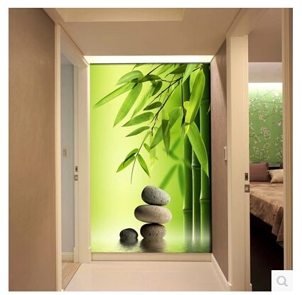 grandes murales couloir d 39 entr e pour restaurant murale papier peint vert bambou papier. Black Bedroom Furniture Sets. Home Design Ideas