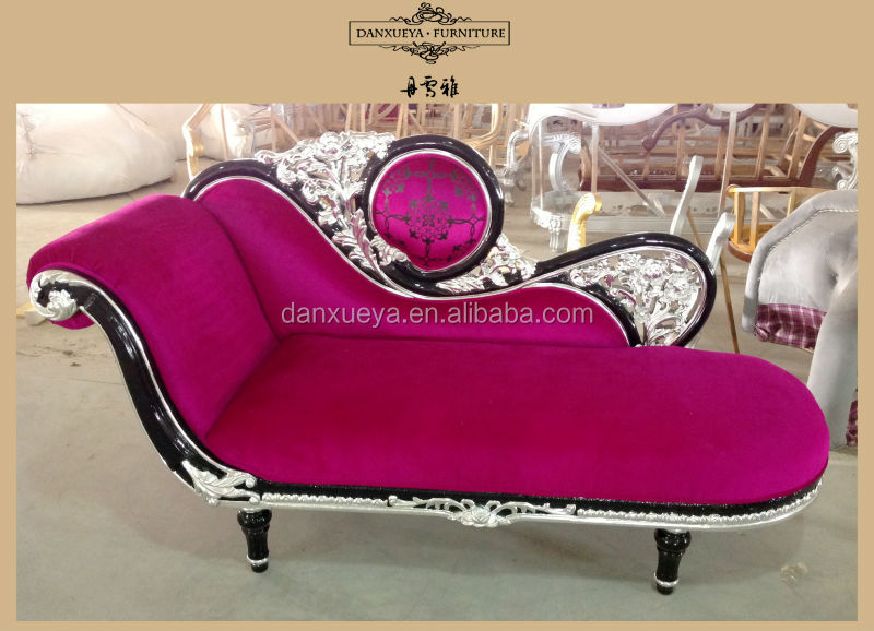 black silver carved pink fabric antique chaise lounge for wedding ...