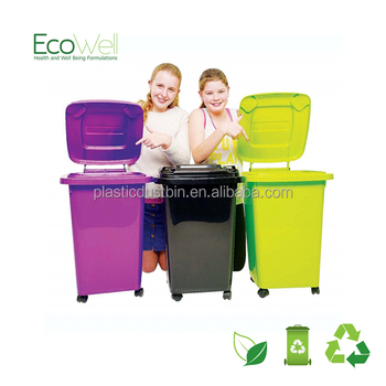 60L Colored Plastic Toy Storage Container Kids Wheelie Bin