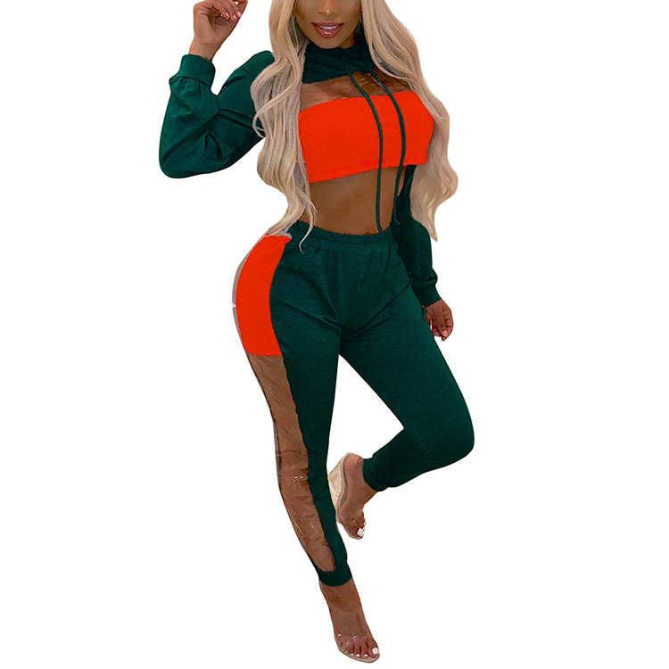 2018 Latest Design Brightly Crop Top Long Sleeve 2 Piece Women Sweat Suit