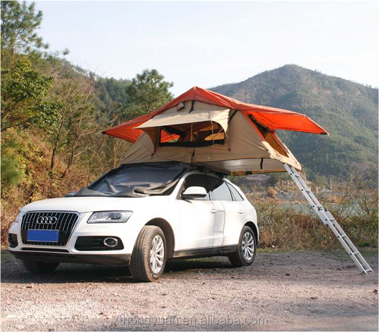 cheap price aluminium alloy pole Portable Polyester roof top tent car camping