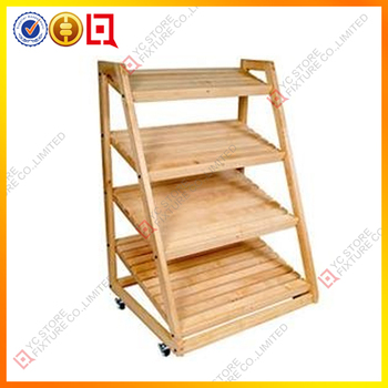 3 Tier Wood Display Stand With Pizza