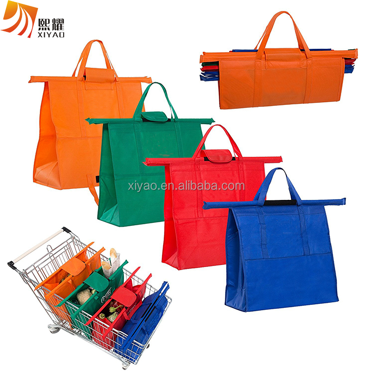 Reusable Grocery Shopping Cart Bags For Trolley Pack, Eco-Friendly Easily and Safely Heavy Duty 4 Bag Set