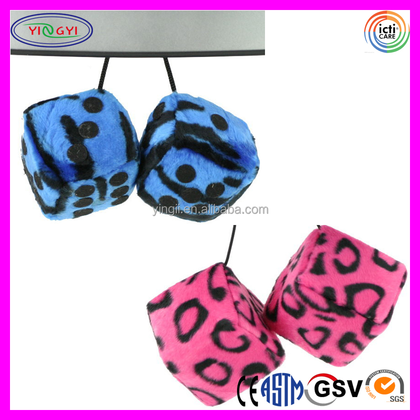 D288 Fuzzy Dice Printing Animal Pattern Plush Dice for Car
