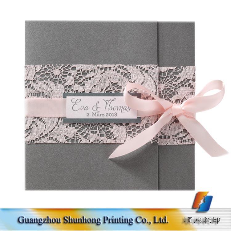 Lace Muslim Wedding Invitations Elegant Love Tages Ribbon Invitation ...