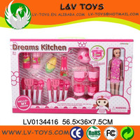 LV0134416 Plastic baby kitchen tableware toy cooking set with food