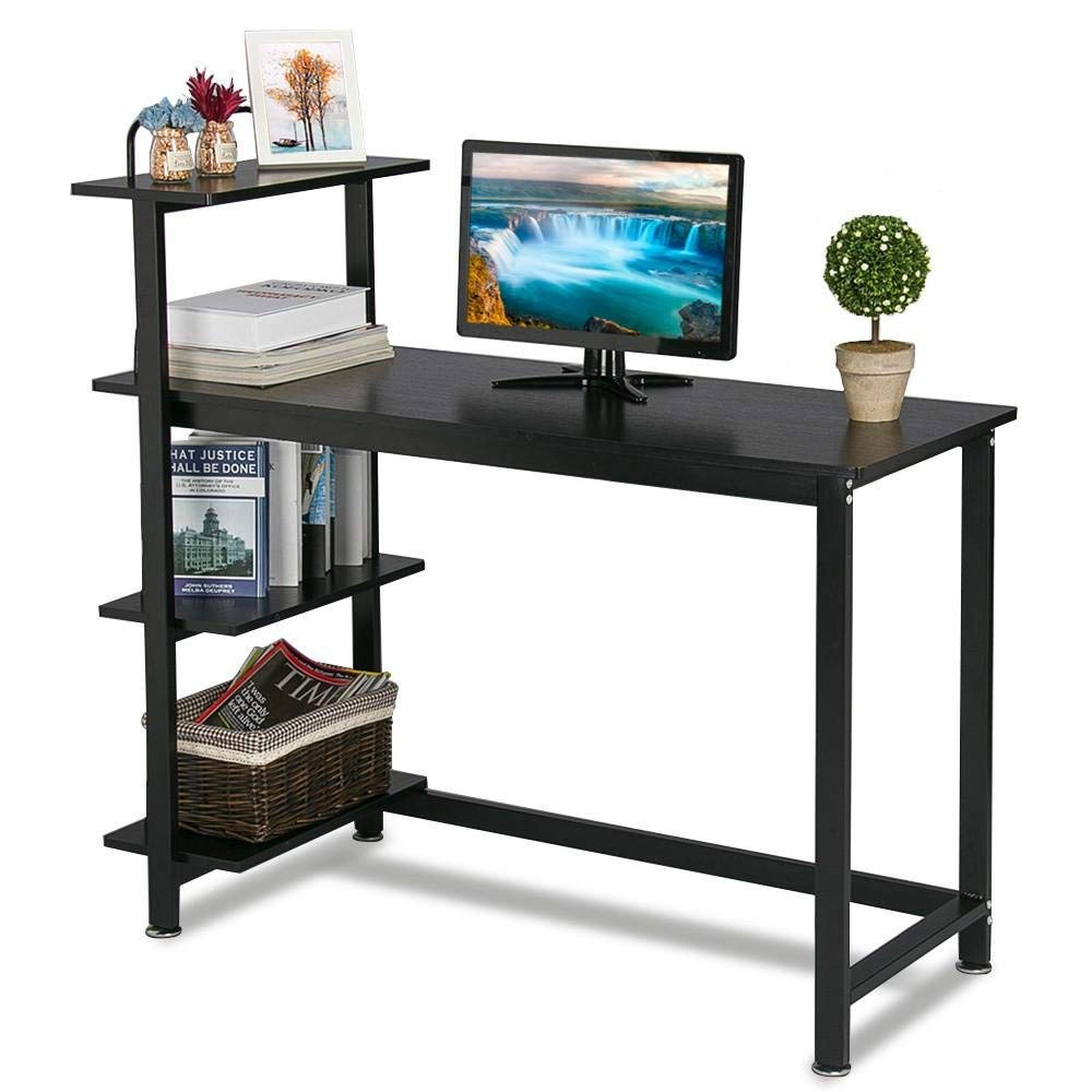 Topeakmart Computer Desk Laptop PC Compact Desk 4 Shelves Home Office Study Writing Desk Table