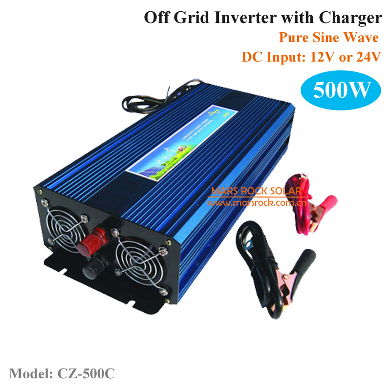500W DC12V/24V AC110V/220V off grid pure sine wave single phase inverter with charger, surge power 1000W