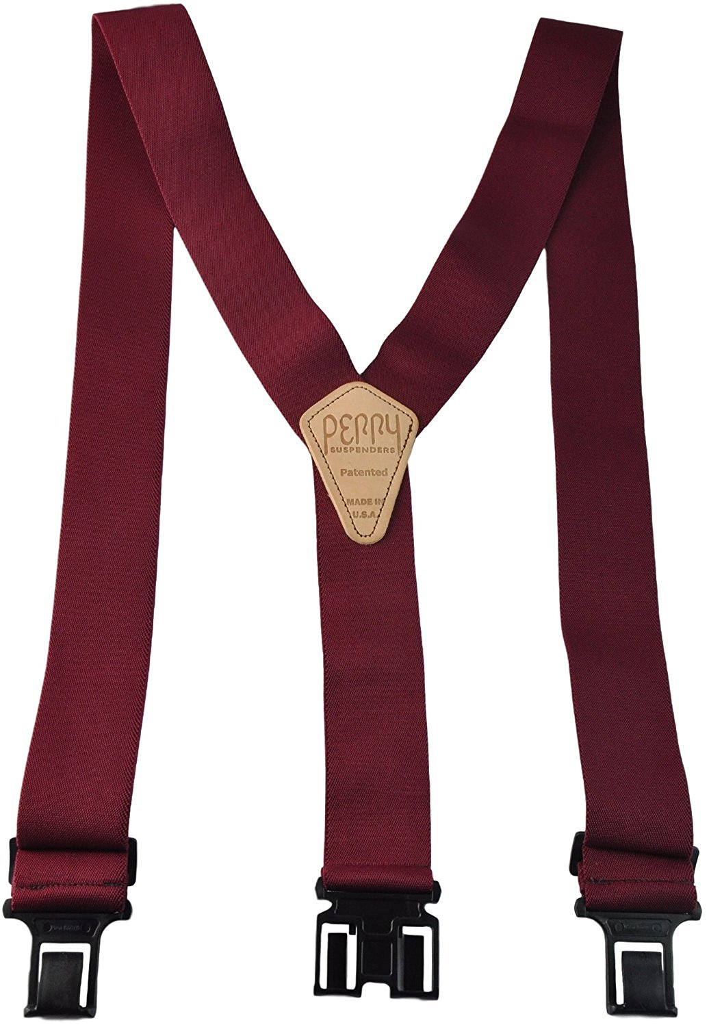 Perry Products SN200 Men's Clip-On 2-in Suspenders(Tall, Burgandy)