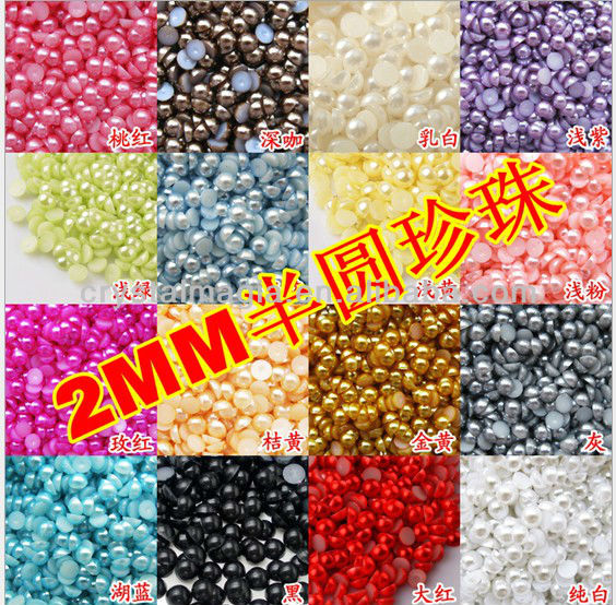 loose plastic flat back pearl beads for garment accessory