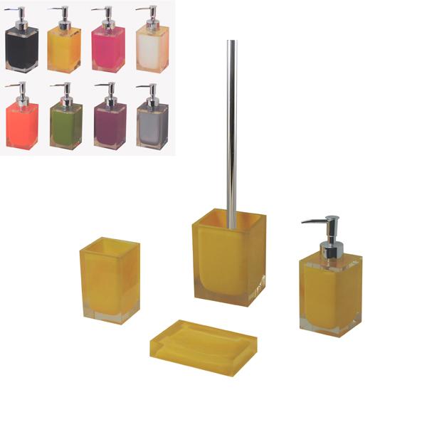 yellow bathroom accessories. Transparent resin yellow bathroom accessories set  View