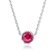 POLIVA Adjustable Real 925 Sterling Silver Gemstone Zirconia Ruby Flower Shape Halo Pendant Necklace