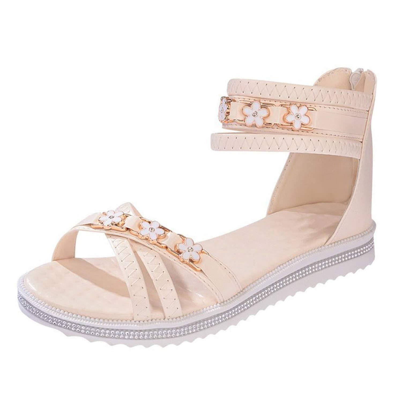 9ecca8b3845e6 Get Quotations · Show-Show-Fashion slides-sandals Women Bohemia Sandals Flat  Open Toes Crystal Platform