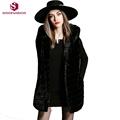 2016 Sinofashion New Winter Fashion Women Fur Vest 16884 Black Sleeveless Long Hooded Top Tank Fur