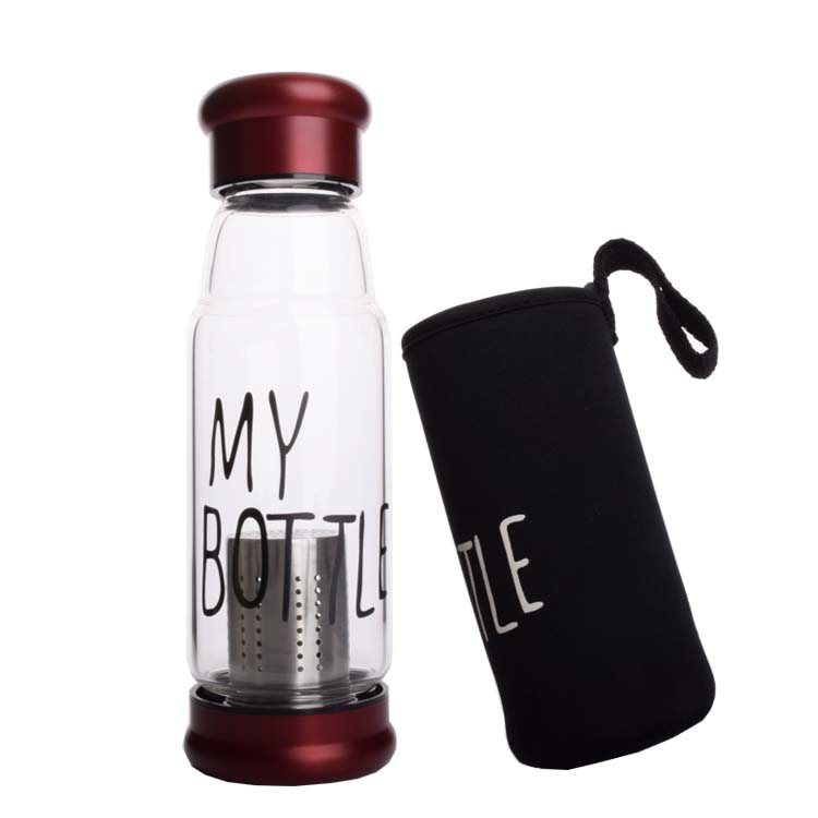 420 ml 550 ml borosilicate glass cheap drinking bottle with stainless steel filter