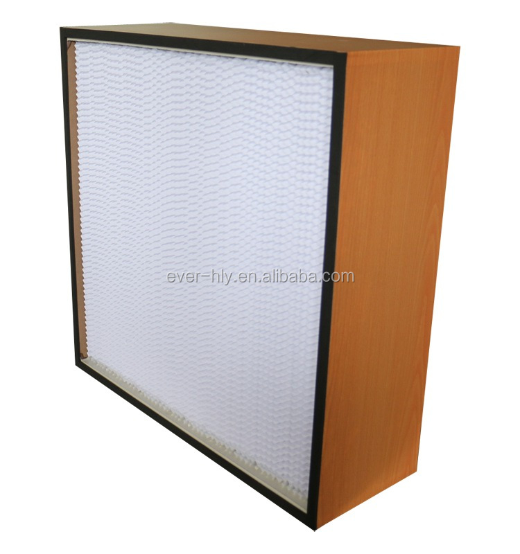 Wooden frame custom clean room deep pleat HEPA panel filter with stable air velocity