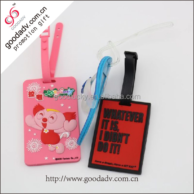 2016 Travel necessary toys pvc plastic luggage tag for promotional 3d logo custom