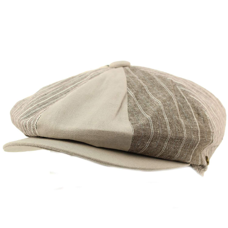 Get Quotations · Men s Cotton Stripe Plaid Snap 8 Panel newsboy Drivers  Cabbie Cap Hat Lt Gray 33eb77633022