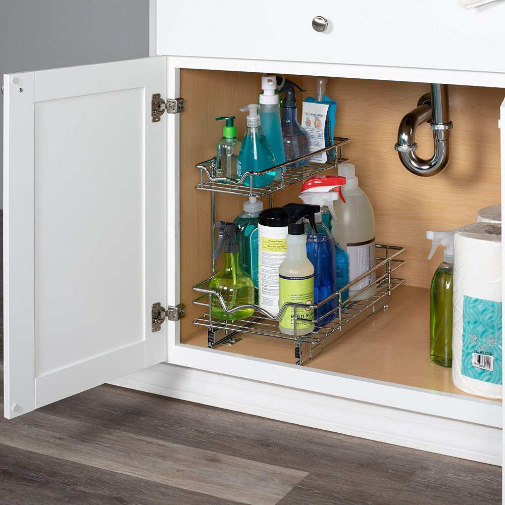 two tier stackable kitchen pull out cabinet organizer with