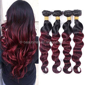 DING HAIR Black Rose Hair 8A Ombre Brazilian Loose Wave 3Bundles Virgin Remy Human Hair Weave 1b/burgundy Ombre Loose Deep20''
