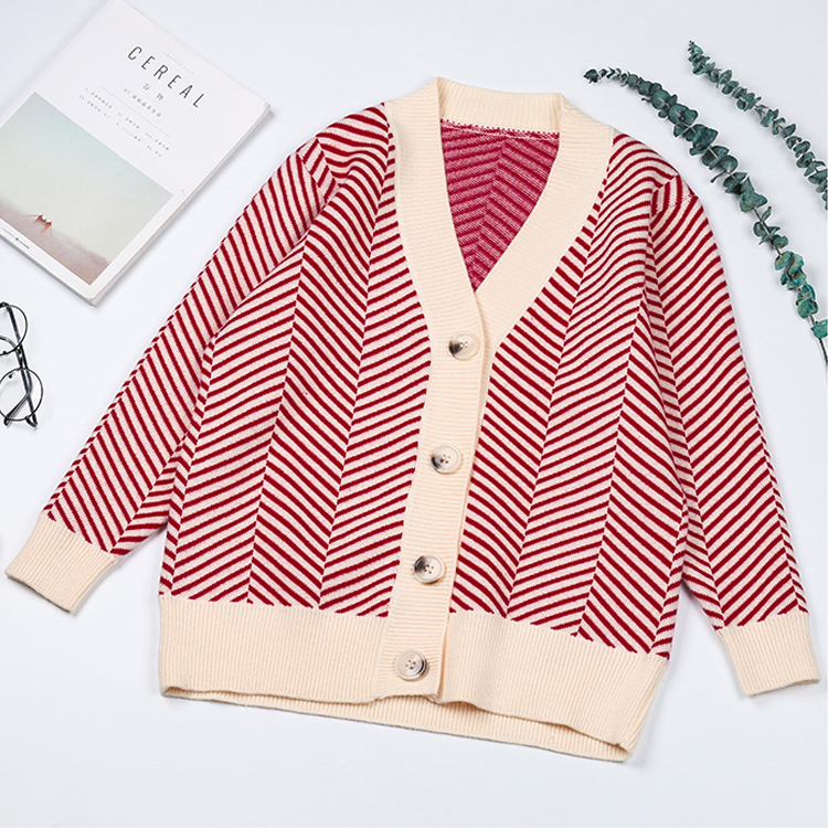 New Knitted jacket for women single-breasted loose striped sweater blouse winter knitted cardigan