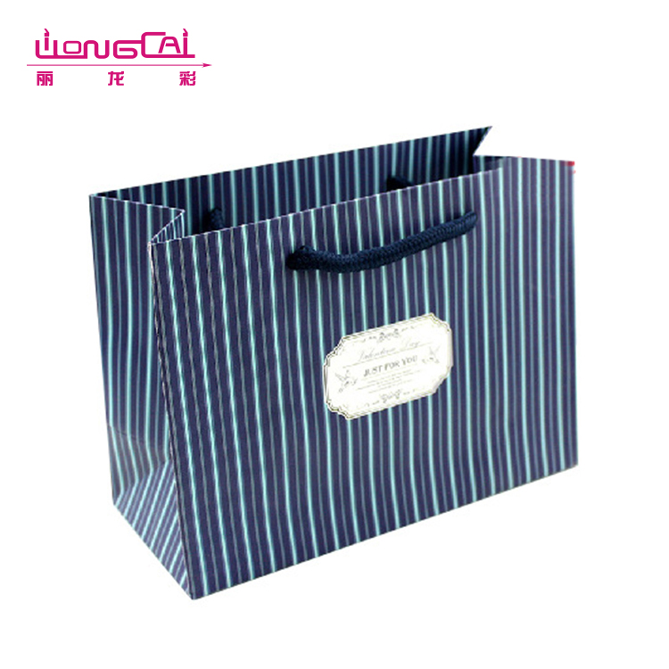 Custom fancy printed large capacity recycled high-end rope handle gift bag