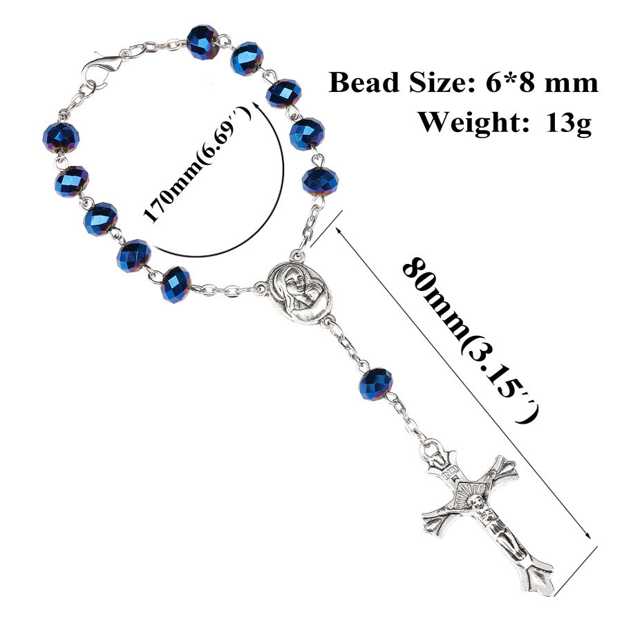 religious jewelry online shop china Virgin Mary catholic prayer rosary bracelet metal rosary