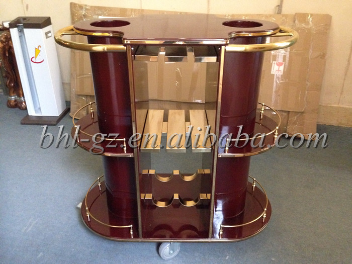 Hotel Articles Luxury Oval Wood Dull Red Mobile Bar Cabinet Home Bar Furniture Wine Holder